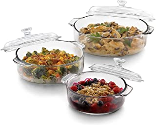 Glass Bowl With Lid - 1000ml, 3 Pieces, Transparent, Checkered