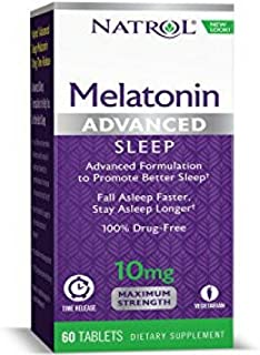 Natrol Advanced Sleep Melatonin Tablets, Maximum Strength 10 mg 60 ea ( Pack of 2)