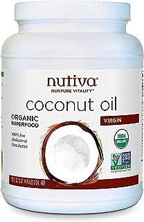 Nutiva Organic Cold-Pressed Virgin Coconut Oil, 78 Fl Oz USDA Organic, Non-GMO, Fair Trade, Whole 30 Approved, Vegan, Ket...