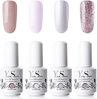 YaoShun Gel Polish Kit - Gel Polish with UV Light Soak Off Nail Gel French Manicure Gel Nail Salon Art Kit 8ml # 01