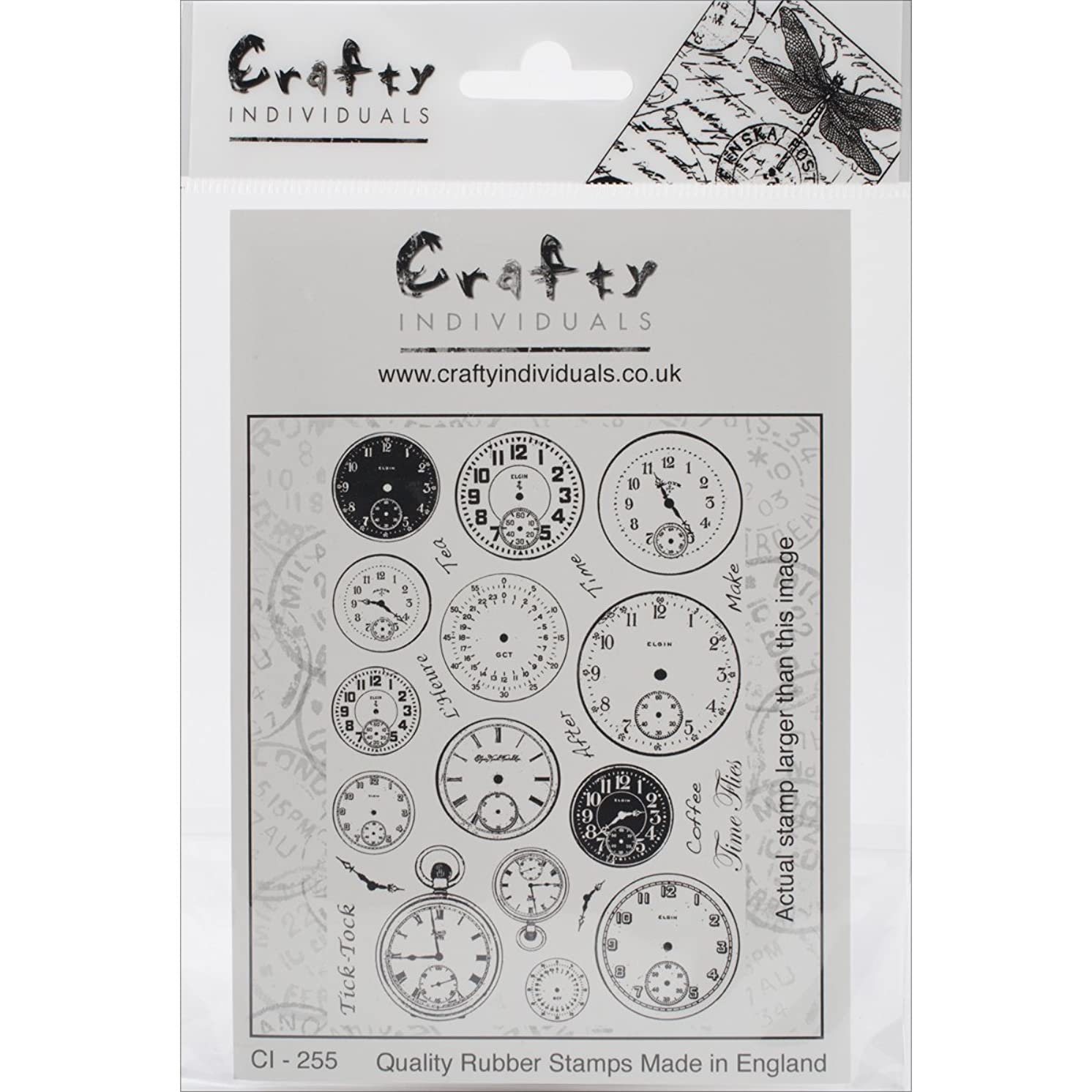 Crafty Individuals Unmounted Rubber Stamp, 4.75 by 7-Inch, Tick Tock Clock Faces