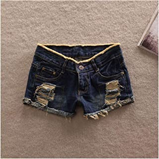Prosperous-Blooming New Women's Fashion Sexy Denim Casual Pockets Hole Burr Jeans Low Waist Girl Shorts