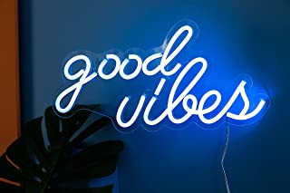 """Good Vibes Neon Signs for Bedroom Wall Decor,Powered by USB 3D Art Neon Light, Ice Blue Color,16""""x 7.9""""x 0.6"""""""