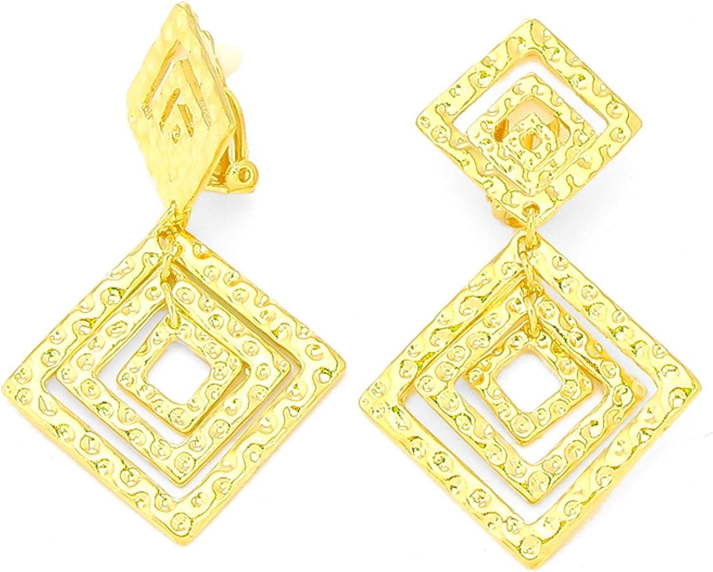 Textured Metal Diamond Shape Hoop Clip on Earrings / AZERCO429-GLD
