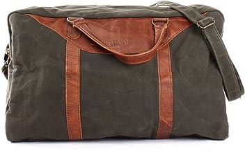LECONI kleiner Weekender Canvas  Leder Used-Look Reisetasche Handgepäck Reise Fitnesstasche Sporttasche Damen  Herren 45x25x20cm LE2009-C