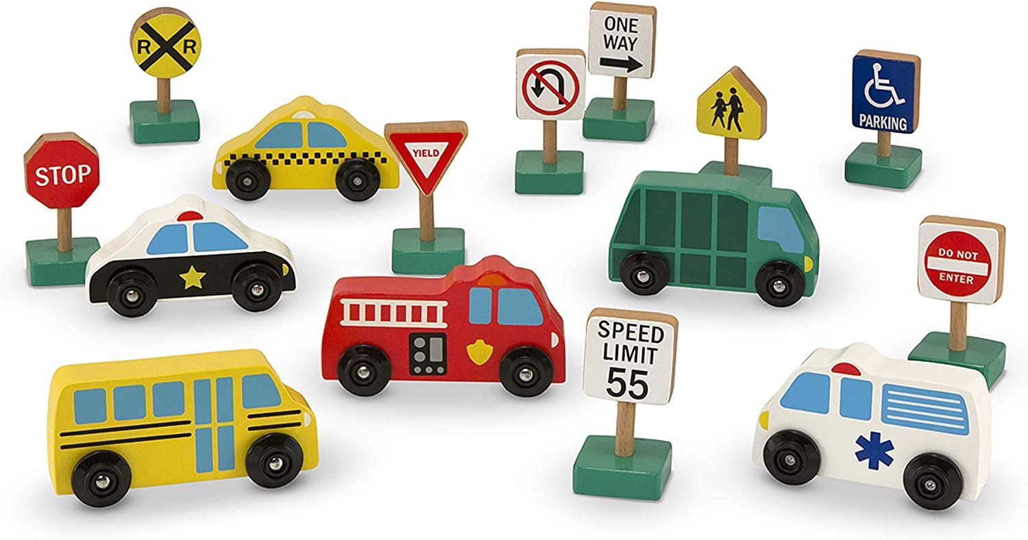 Melissa Doug Wooden Vehicles Genuine Free Shipping and Signs Traffic Cars Overseas parallel import regular item With 6