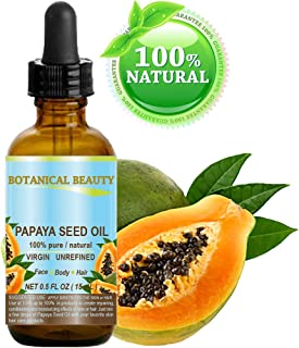 PAPAYA SEED OIL WILD GROWTH. 100% Pure / Natural / Undiluted/ Virgin / Unrefined Cold Pressed Carrier Oil. For Skin, Hair, Lip and Nail Care (0.5 Fl. oz. - 15 ml.)