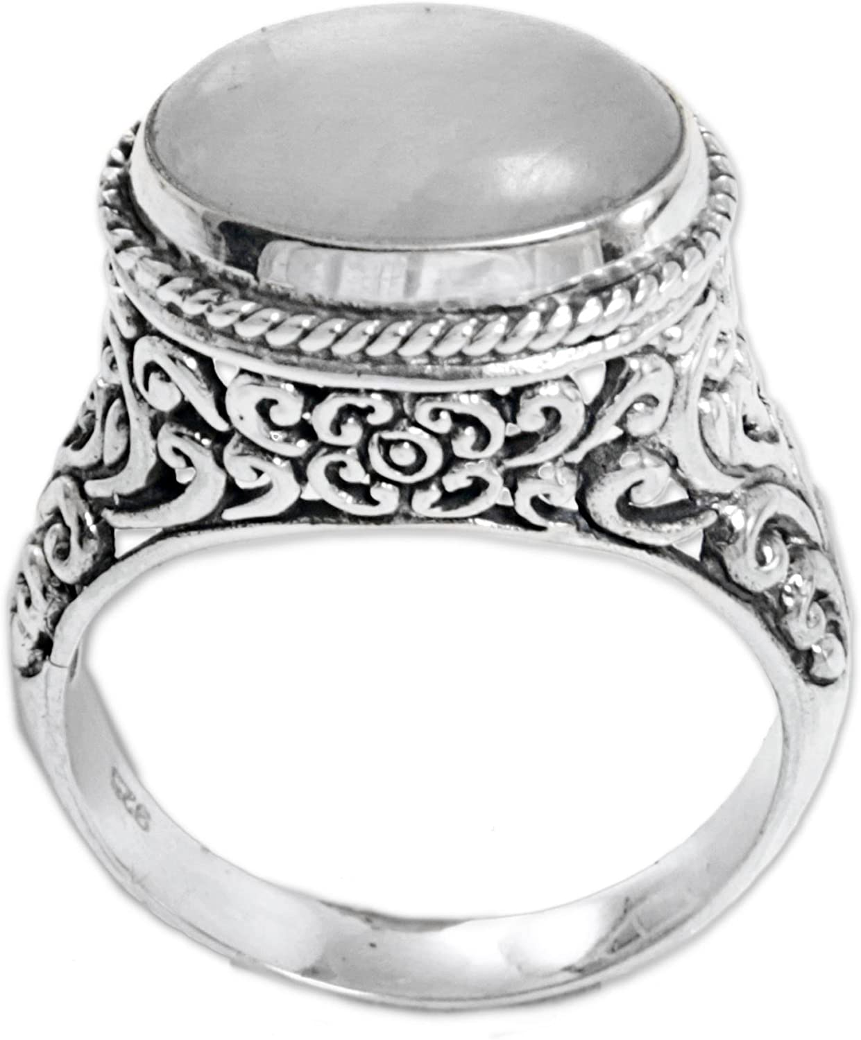 NOVICA Rainbow Some reservation Houston Mall Moonstone .925 Sterling 'Ba Statement Silver Ring