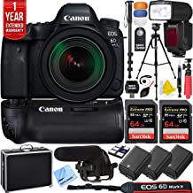 Canon 1897C002 EOS 6D Mark II 26.2MP Full-Frame DSLR Camera Body Bundle with EF 24-70mm f/2.8L II USM Lens, 2X 64GB Memory Card, 3X Battery, 1 Year Extended Warranty and Accessories (17 Items)