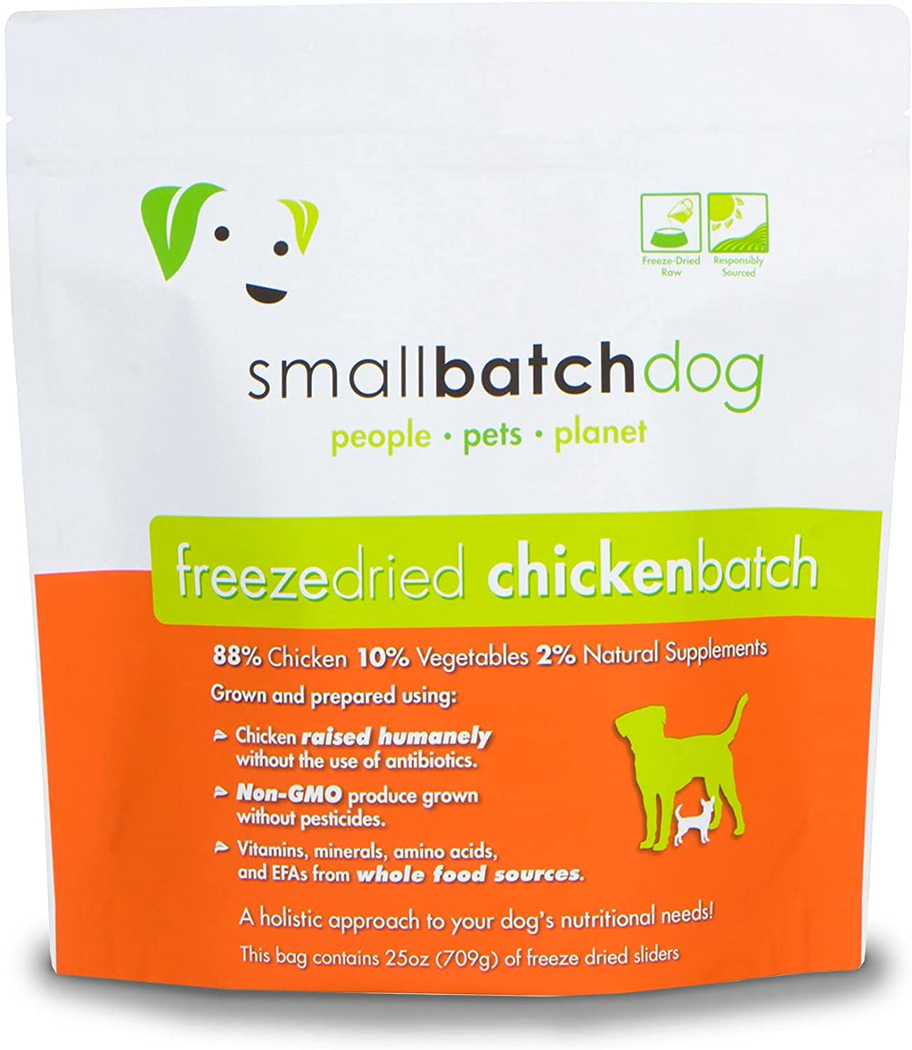 Smallbatch Pets Freeze-Dried Premium Raw Food Diet for Dogs, 25oz, Chicken Recipe, Bulk Bag, Made in The USA, Organic Produce, Humanely Raised Meat, Hydrate and Serve Patties, Wholesome & Healthy