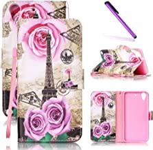 HTC Desire 626 Case, HTC Desire 626s Case LEECOCO Fancy Print Design Wallet Case with Card Slots Shockproof Colorful Floral PU Leather Flip Stand Case for HTC Desire 626/626s Gold Tower & Roses