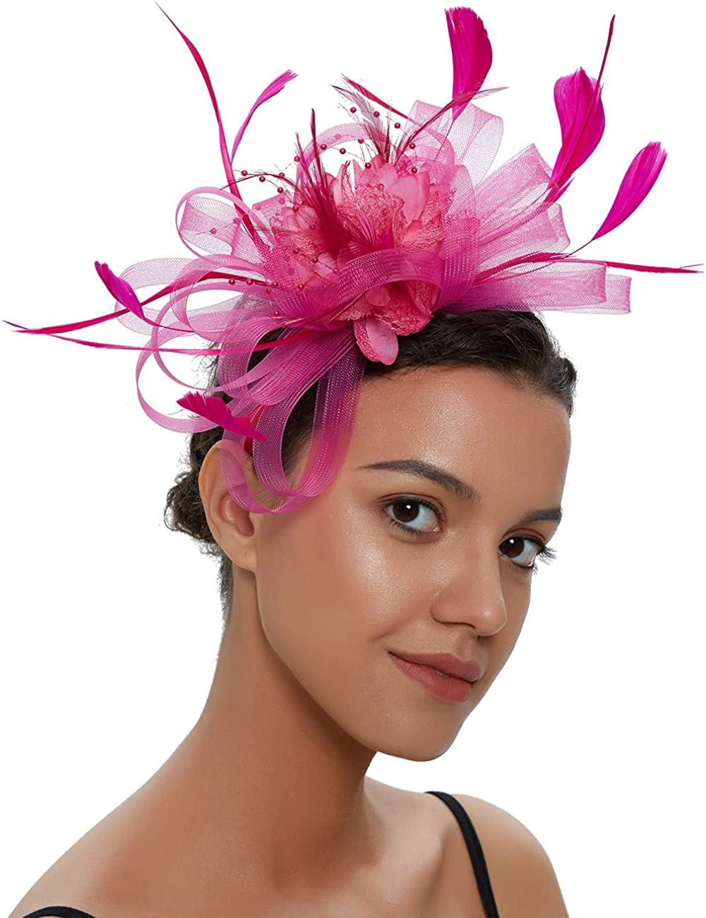 Sinamay Vintage Women Fascinators Derby Hat Feather with Headband Cocktail Headpiece for Tea Party Wedding