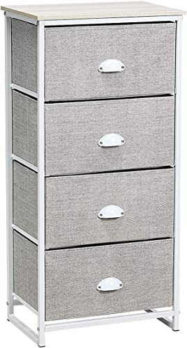 lowest Giantex Dresser Storage Tower Nightstand W/Fabric Drawers, Sturdy Steel Frame and Wood Top Organizer Unit for Bedroom, Living Room, Entryway,Closets End Table Storage Unit online sale (37''(H), sale White) outlet online sale