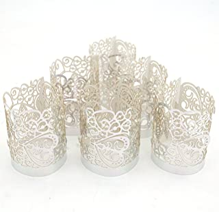 LoveInUSA 48PCS Tea Light Holders,1.7inch Tea Lights Silver Candle Holder Silver Flameless Candles Tea Light for LED Battery Tealight Candles Valentine Birthday Wedding Decoration