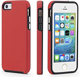 iPhone 5/5s/SE Case, CellEver Dual Guard Protective Shock-Absorbing Scratch-Resistant Rugged Drop Protection Cover for iPhone 5/5S/SE (Red)