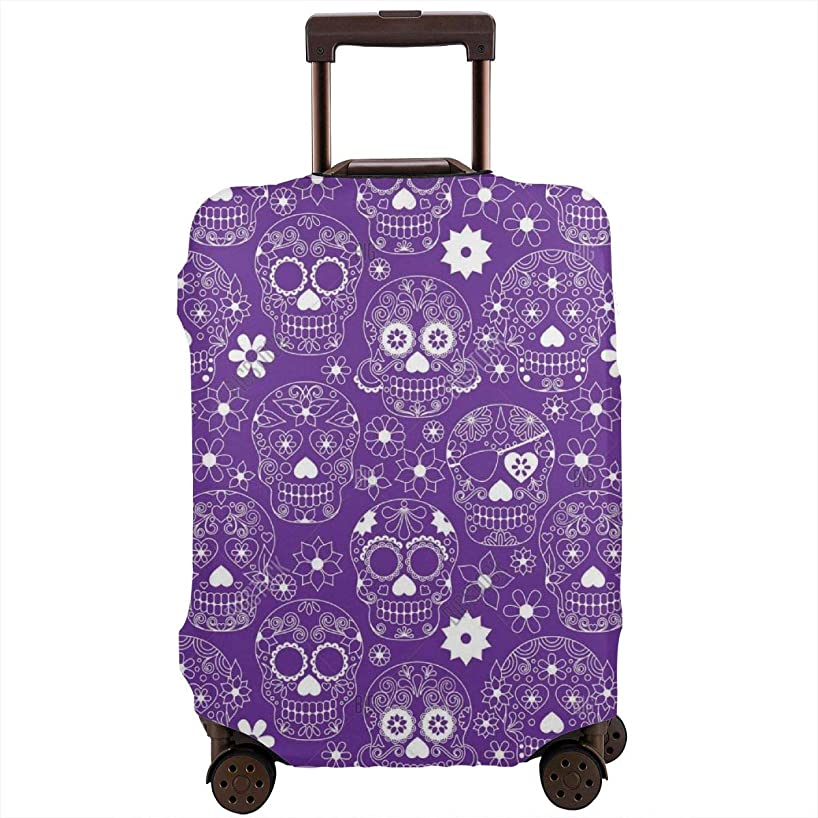 Spandex Travel Luggage Cover, Suitcase Protector Bag Fits 25-28 Inch Luggage Purple Floral Sugar Skull