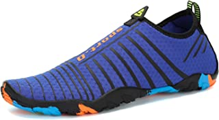 Voovix Mens Womens Water Shoes Kids Barefoot Aqua Shoes Quick Drying Water Sandals for Beach Swim Yoga Diving Surfing Boating Sailing(Navy,44)