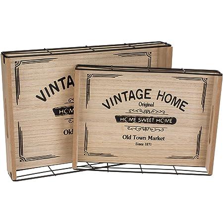 Vintage Home Lot de 2 plateaux en bois et métal 34 x 24,8 cm et 28 x 20 cm