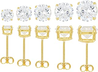 JTV-Bella Luce 17.25ctw Round 18k Yellow Gold Over Sterling Silver Earrings Set Of 5