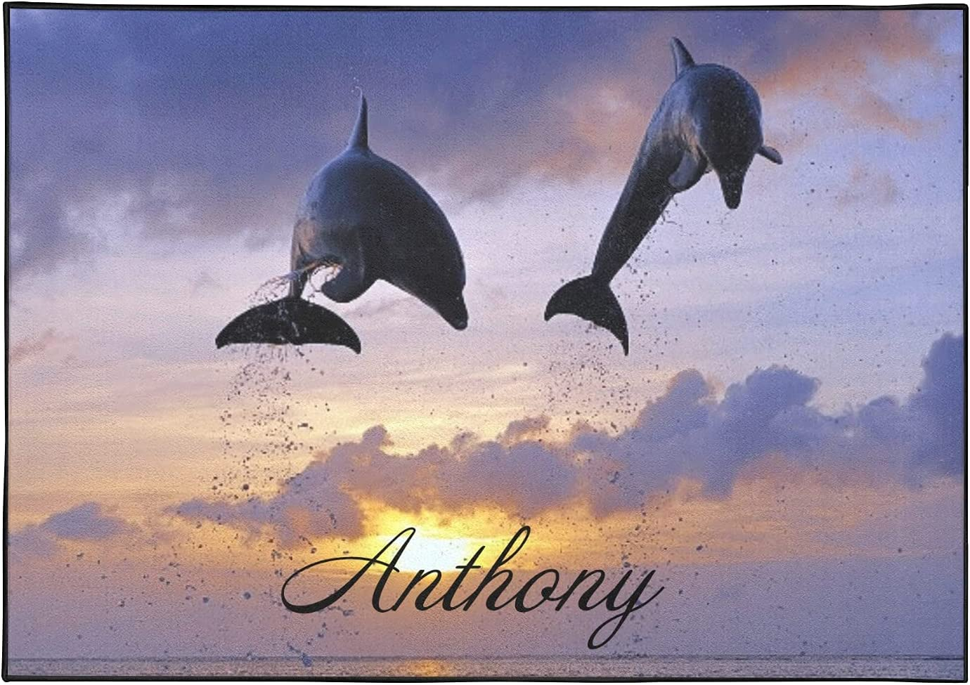 price Personalized Jumping Dolphins Japan Maker New Sunset 4'x5.2' Rug Non-Slip w Area