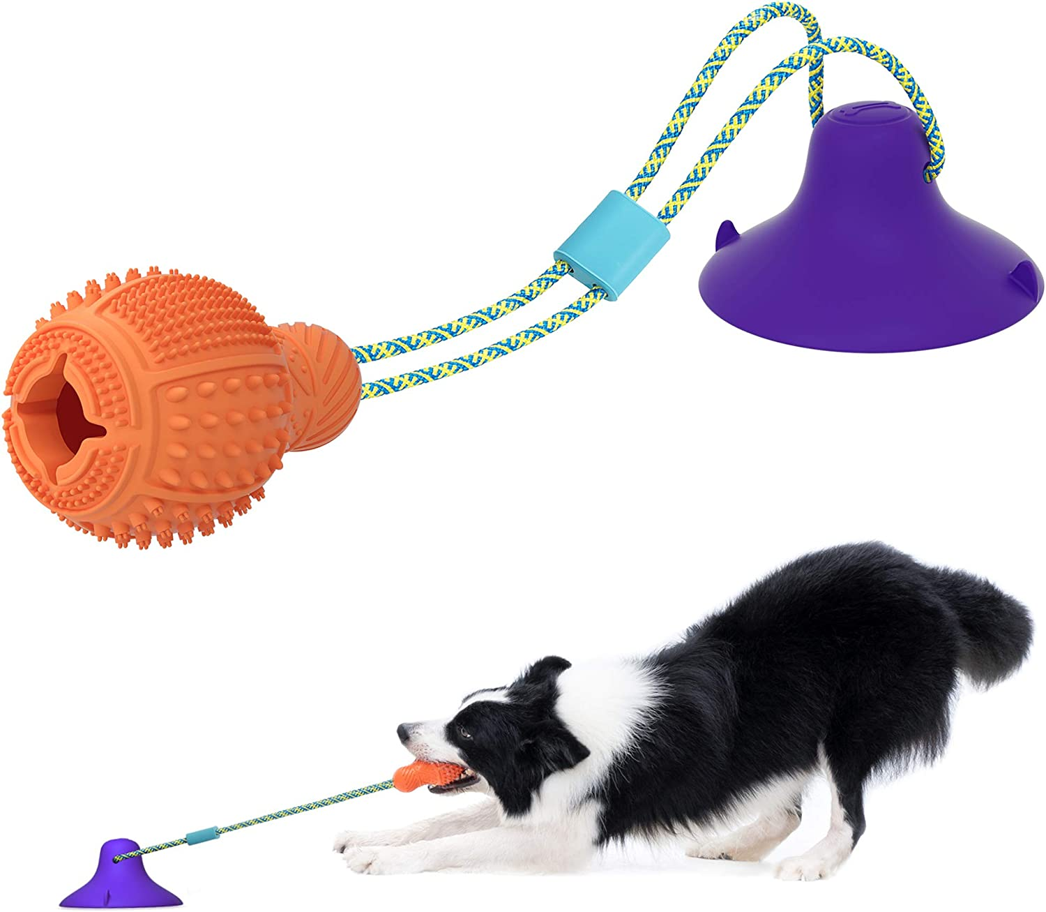 Puppy Teething Chew Toys Suction Cup Dog Toy, Durable Natural Rubber Interactive Dog Chew Toys for Bored , Dog Puzzle Toys with Teeth Cleaning and Food Dispensing