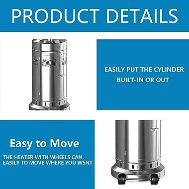 7 Set 48,000-BTU Umbrella Patio Propane Heater with Wheels,Stainless Steel Patio Heater,Stainless Steel Floorstanding Liquid