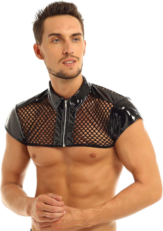 MSemis Men's Fishnet See-Through Muscle Crop Top Tank Vest Shiny Wet Look Nightclub Turn Down Collar Shirt