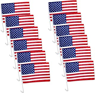 "TSY TOOL 12 Pack US American Patriotic Decoration Car Window Clip USA Flag 17"" x 12"" Clip onto Car Window - Pack of 12"
