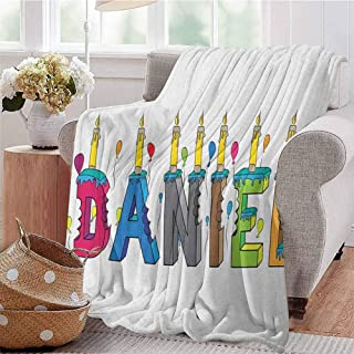 Luoiaax Daniel Rugged or Durable Camping Blanket Grooving Cheerful Male Name with Happy Occasion Birthday Theme Bite Marked Cake Warm and Washable W80 x L60 Inch Multicolor