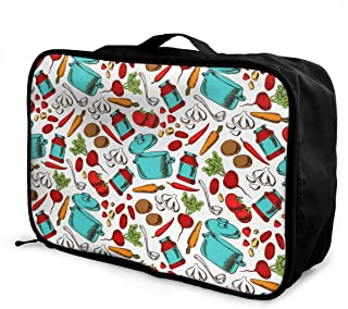 Women & Men Foldable Travel Duffel Bag Cooking Vegetarian Soup For Luggage Gym Sports