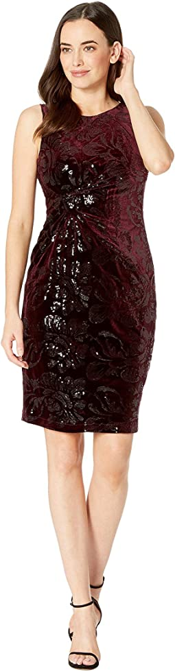 Sleeveless Velvet Sequin Sheath Dress