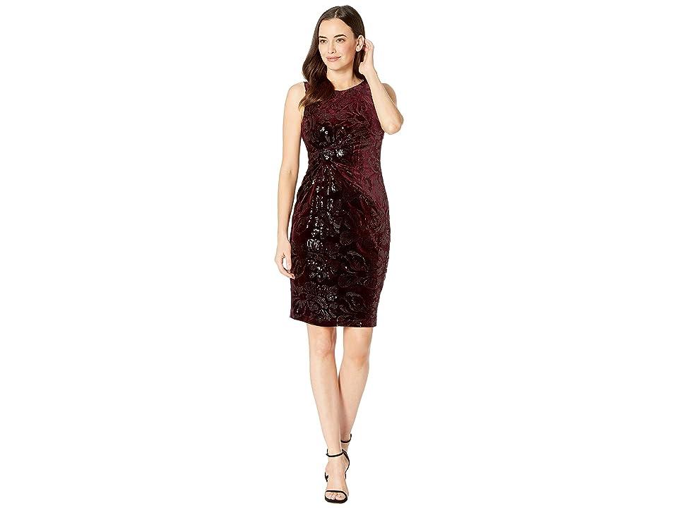 Taylor Sleeveless Velvet Sequin Sheath Dress (Burgundy/Black) Women