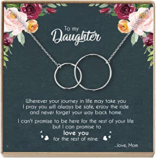 DOPTIKA Mother Daughter Necklace - Sterling Silver Two Interlocking Infinity Double Circles, Birthday Gifts for Daughter from Mom - Mom Daughter Jewelry Gift (A - Silver)