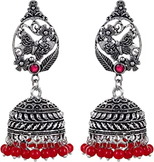 Oxidized Stud Red Beaded Jhumka Jhumki Indian Earrings Jewelry for Girls and Women-2550