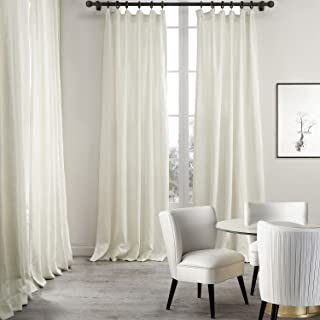 ChadMade Premium Double Layers Plain Flat Hook for Rod with Rings or Track Linen Cotton Natural Curtain Drapery (1 Panel) in 50Wx96L inch