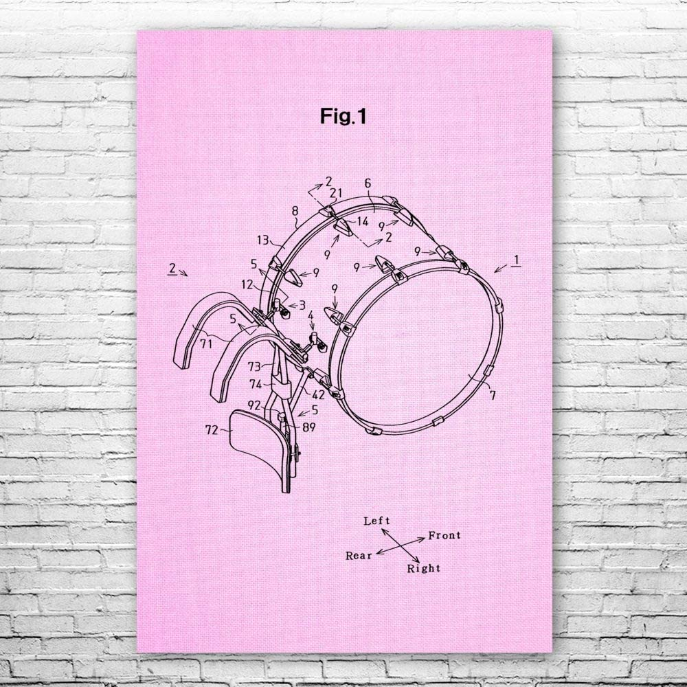 Patent Earth 超激安 Marching Bass Drum Musician Poster Dru Print Gift マーケット