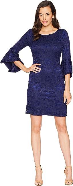 Lace 3/4 Peplum Sleeve T-Shirt Dress