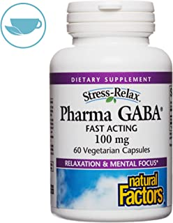 Stress-Relax Pharma GABA 100 mg by Natural Factors, Non-Drowsy Stress Support for Relaxation and Mental Focus, 60 Vegetarian Capsules (30 Servings)