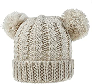 AMAZACER Kids Winter Knit Beanie Hat Baby Boy Girl Double Pompom Ski Cap 1-8Y (Color : Beige)