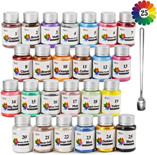 Soap dye - 25 Color Mica Powder - Pigment Powder for Bath Bomb - Soap Making Colorant - Resin dye, Eye Shadow, Blush, Nail Art, Resin Jewelry, Craft Projects(0.35 oz Each Color)