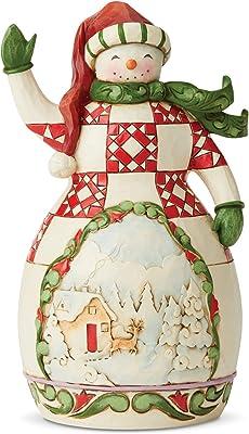 Enesco Jim Shore Heartwood Creek Red/Green Snowman with Scene Figurine
