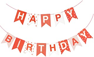 Red Paper Happy Birthday Party Banner Flag Decorations