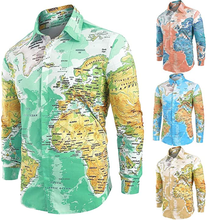 Overdose Camisas Hombre Mapa del Mundo Estampadas Manga Larga Divertidas No Plancha Originales Baratas Entalladas Retro Hippie Informal Camisetas para ...