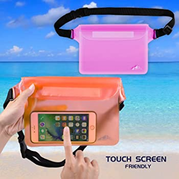 HEETA 2-Pack Waterproof Pouch, Screen Touch Sensitive Waterproof Bag with Adjustable Waist Strap - Keep Your Phone an...