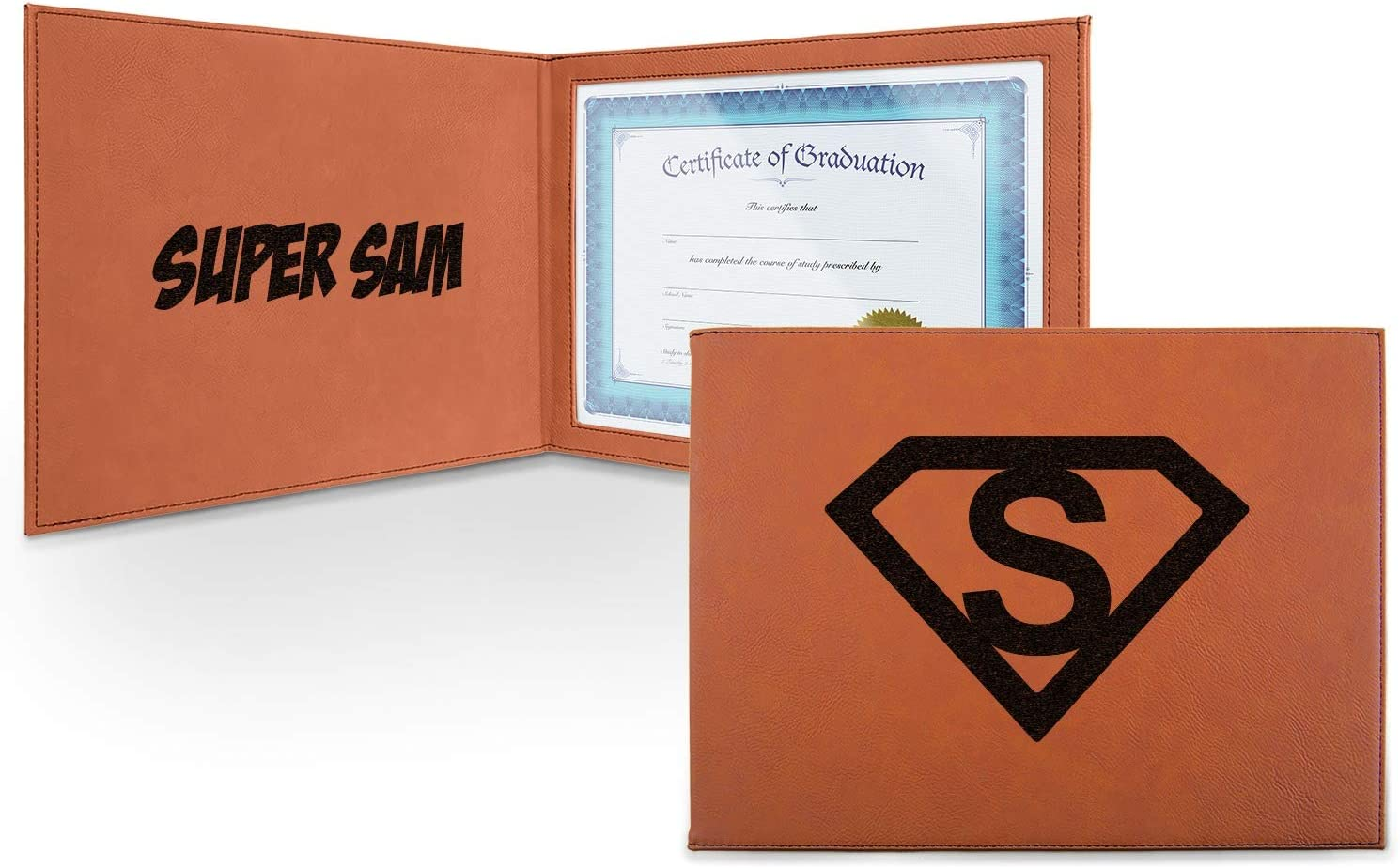trend rank Super Hero Letters 25% OFF Leatherette Certificate and - Holder In Front