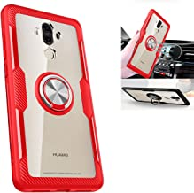 Huawei Mate 9 Transparent Case,360° Rotating Ring Kickstand Protective Case,TPU+PC Shock Absorption Double Protection Cover Compatible with [Magnetic Car Mount] for Huawei Mate 9 Case (Red/Silver)