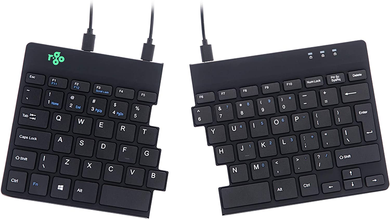 R-Go Split Ergonomic Keyboard, QWERTY (US), Black, Wired USB Keyboard (QWERTY (US) / Spilt, Wired/Windows, Linux)