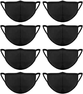 Madholly 8 Pieces Cotton Mouth Masks with Nose Bridge Wire, Black Anti-dust Face Mask for Women and Men