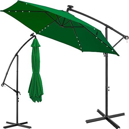 Sonnenschirm Ø300cm UV-Schutz Schirm LED Ampelschirm Marktschirm Garten Balkon