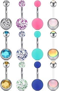 14G Piercing Ombelico Acciaio Inossidabile Piercing Pancia Diamante Palla di Gomma Sfera di Paillettes 10MM Gioielli per i...
